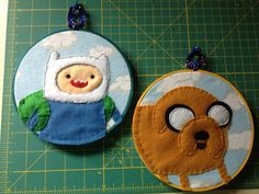 Finn and Jake Adventure Time Embroidery Hoop Set by CutieCornerCrafts