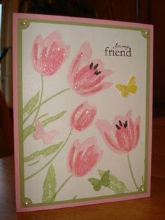 Pink Tulips with Butterflies by megala3178 - Cards and Paper Crafts at Splitcoaststampers