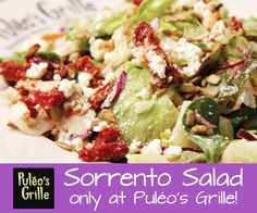 #Puleosgrille Sorrento #Salad  A spring mix salad, grilled #chicken, sun dried tomatoes, #feta cheese, sunflower seeds and croutons tossed with our house made citrus vinaigrette dressing.