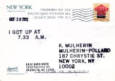 Eric Doeringer  I Got Up (after On Kawara), 2012, stamps and ink on postcards, approx. 4x6in. (10x15cm.)  Image courtesy of the artist and {CTS} creative thriftshop, New York. @CTSart #art