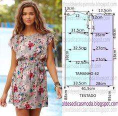 Molde de vestido floral com passo a passo. Muito fácil de fazer este molde de vestido floral encontra-se no tamanho 42 na tabela de medidas Portuguesa e 44 na tabela de medidas Brasileira.