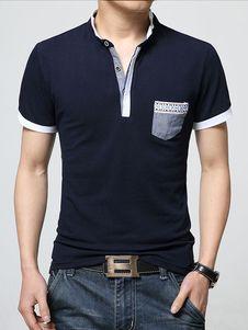 Navy Pockets Polo Shirt Chic Cotton Polo Shirt for Men