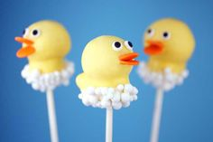 Rubber Duck Cake Pops (Go to http://cakepop.com/cake-pops-kit.html for places to buy the cake pop kits.)