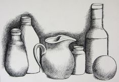 It's a still life drawing that has some elements of cross hatching and shading. Description from art Shading Drawing, Basic Drawing, Painting & Drawing, Cross Drawing, Basics Of Drawing, Contour Drawing, Nature Drawing, Still Life Sketch, Still Life Drawing
