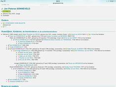 Jan Peterse Sonneveld, 1670 Enspijk ; Roelof Sonneveldt, 1702 ; Arie Sonneveld 1782 Numansdorp ; Pieter Sonneveld 1813 - 1899 Numansdorp ; Jacob Zonneveld 1861-1945 Puttershoek