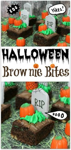 The BEST Halloween Party Recipes {Spooktacular Desserts, Drinks, Treats, Appetizers and More!} Halloween Party Treats Appetizers and Desserts Recipes - Tombstone Pumpkin Brownie Bites Recipe via Virtually Yours Halloween Snacks, Halloween Cupcakes, Cocktails Halloween, Comida De Halloween Ideas, Pasteles Halloween, Dulces Halloween, Bolo Halloween, Halloween Brownies, Halloween Goodies