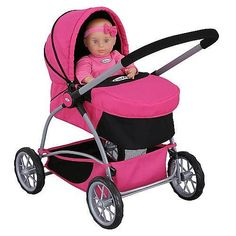 $52.99-$34.99 Baby Tolly Tots Graco 3-in-1 Classic Carriage - Carrying a baby doll around all day can be hard work. This stroller set is perfect for transporting your baby doll and all of her accessories. Sturdy stroller has a handy under-compartment for bottle and diaper storage. Top converts into a basinette-like tote with handy strap for carrying baby around. http://www.amazon.com/dp/B001N3KCEC/?tag=pin2baby-20