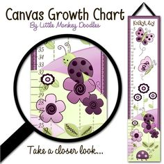 Canvas GROWTH CHART Plum Love Bugs Ladybug and Butterfly Babies Bedroom Baby Nursery Wall Art. $40.00, via Etsy.