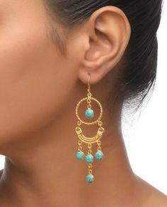 Golden Rounded Earrings with Turquoise Stone Drop.