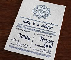 The enclosure card shown here helps the guests decide which of the wedding events they would like to go to! Try serving a wedding brunch!! Gopi | Invitations by Ajalon | invitationsbyajalon.com