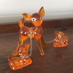 Vintage Deer Trio with Chains Mother and 2 Babies Hong Kong Frosted Plastic  | eBay