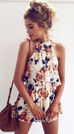 best summer outfit _ brown bag + floral jumpsuit