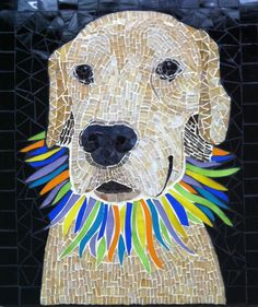 Mosaic dog portrait of Tequila the golden retriever  www.creativearfs.com