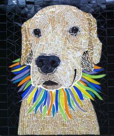 Mosaic dog portrait of Tequila the golden retriever  www.creativearfs.com