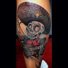Day of the day mariachi tattoo<br> Chicano Tattoos, Leg Tattoos, Sleeve Tattoos, Tatoos, Day Of The Dead Skull Tattoo, Samurai Mask Tattoo, Rockabilly Tattoos, Mexican Tattoo, Tattoo Ideas