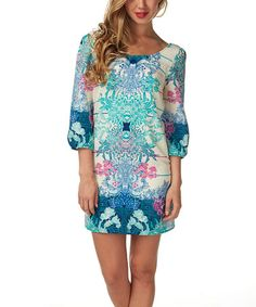 Look what I found on #zulily! Purple & Mint Filigree Shift Dress by Pinkblush #zulilyfinds