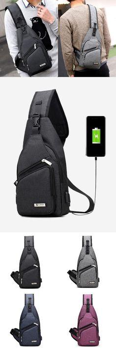 Buckle Strap USB Charging Port Chest Bag