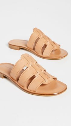 Mansur Gavriel Caprese Slides Mansur Gavriel Bag, New Today, Fall Sweaters, Gq, Navy And White, Bucket Bag, Product Launch, Leather, Women's Shoes