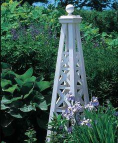 Lattice Obelisk with Sphere Top - traditional - garden sculptures - other metro - Walpole Outdoors Walpole Outdoors, Toronto Gardens, Tower Garden, Garden Architecture, Garden Trellis, Garden Gates, White Gardens, Garden Structures, Garden Accessories