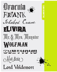 Designeditor+halloweenfonts  Graphic designer gives free font sources every friday.  These are the Halloween ones.