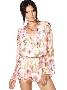 Pink Long Sleeve Floral Pattern Chiffon Jumpsuit EUR€24.65