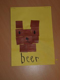 """Beer mozaïek. De kinderen vouwen eerst 16 vierkantjes van een vouwblaadje. Over de vouwlijnen knippen ze de vierkantjes uit. Hierna plakken ze het voorbeeld na. Tot slot ogen, neus en mond erop tekenen en het woordje """"beer"""" erbij schrijven."""