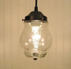 Westbrook I. Petite Clear Mixed Media PENDANT Light. $69.00, via Etsy.