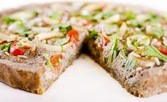 Pizza integrale di farro e kamut con crema di funghi