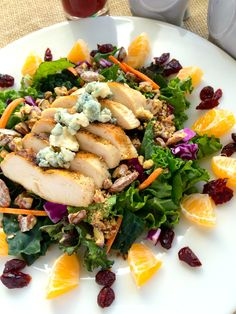 Grilled Chicken Winter Salad with Cranberry Vinaigrette ~ The Complete Savorist