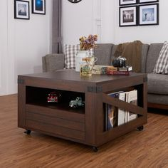 Living Room Kala Square Vintage Walnut Coffee Table W Storage Center Table New #FurnitureofAmerica #Modern
