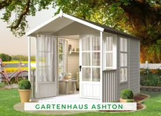 Fun She Shed Conversion Ideas Sliding Bedroom Doors, Sliding Wood Doors, Shed Conversion Ideas, White Wooden Doors, Studio Shed, Home And Garden Store, She Sheds, Backyard Retreat, Gardens