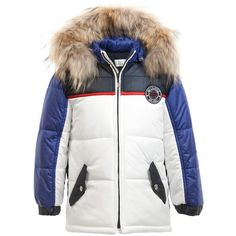 Boys Blue & White Padded Coat with Fur Trim , GF Ferre, Boy