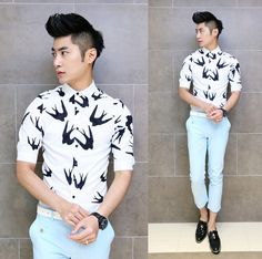 2014 Brand New Design Shirt Swallow Print Slim Korean Stylish Fancy Shirts Charming Men Clothing $22.99