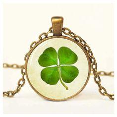 Lucky Clover Pendant Shamrock Jewelry Irish Pendant Altered Art Pendant Resin Pendant Glass Pendant (15 CAD) found on Polyvore