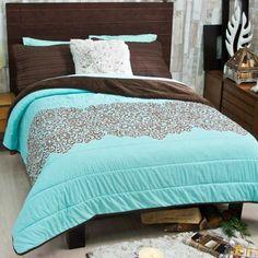 Beige Floral Tulum 6 piece Reversible Comforter Set by Vianney