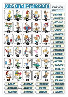 Thirty jobs and professions for students. They match the names of these jobs and professions to the pictures given. It can be used as a reinforcement. English Teaching Materials, Learning English For Kids, Teaching English, English Grammar Worksheets, English Vocabulary, English Lessons, Learn English, English File, French Flashcards