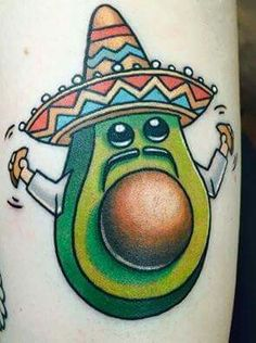Taken from VEGAN TATTOOS: Marianne Hernandez. Mexican avocado taco vegan tattoo