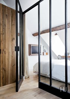 white walls with rustic wood beams 6