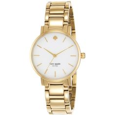 Kate Spade Gramercy Gold Watch ($428) ❤ liked on Polyvore featuring jewelry, watches, accessories, bracelets, gold, yellow gold jewelry, water resistant watches, gold jewellery, kate spade watches and bezel jewelry