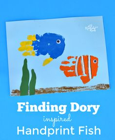 Adorable Dory and Nemo handprint fish inspired by Finding Dory kid craft movie inspired handprint art painting