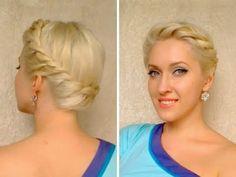 Crown braid tutorial, for medium-long hair. Summer Greek Goddess Updo.