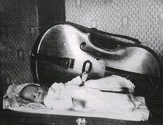 Baby Mstislav Rostropovich resting in his father's cello case.