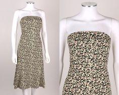 DIANE VON FURSTENBERG LIGHT YELLOW CHERRY BLOSSOM FLORAL STRAPLESS DRESS SZ 10 #DianevonFurstenberg