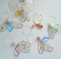 Butterfly wine glass charm set of 6