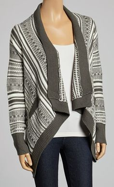 Gray & White Stripe Open Cardigan
