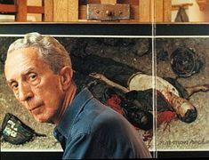 """Norman Rockwell, 1968, in front of easel with his """"Blood Brothers"""" painting as shown in photograph from Ben Sonder book, """"The Legacy of Norman Rockwell."""""""
