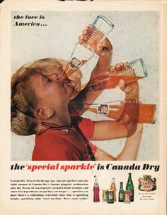 """1962 CANADA DRY TRUE-FRUIT ORANGE vintage magazine advertisement """"face is America"""" ~ the face is America ... the 'special sparkle' is Canada Dry - Canada Dry True-Fruit Orange has 'special sparkle' -- just the right amount of Canada Dry's famous ..."""