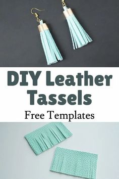 jewelery craft idea with free templates, Cricut project svg templates Diy Leather Feather Earrings, Diy Leather Tassel, Leather Fringe, Real Leather, Diy Home Crafts, Handmade Crafts, Crafts For Kids, Tassels, Jewelery