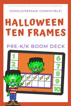 Match the ten frames to the numbers 1-10 in this colorful Halloween activity. Use these task cards as a fun center to improve math skills in preschool and kindergarten. This digital resource is compatible with google classroom and seesaw and perfect for distance or homeschooling. #digital #boom #task cards #math #fall #autumn #tenframe #count #halloween #october #frankenstein Interactive Learning, Learning Games, Educational Activities, Halloween Math, Halloween Activities, Circle Time Games, Numbers 1 10, Ten Frames, Seesaw