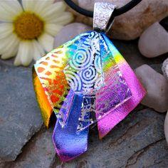 Dichroic  Pendant Extra Special  - UNIQUE 3D Fused Glass Rainbow